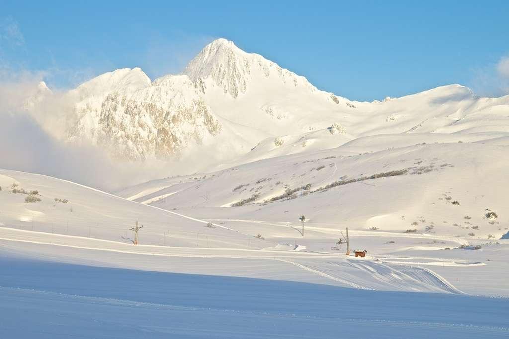 Zona de debutantes de Salencias tras las últimas nevadas en febrero.