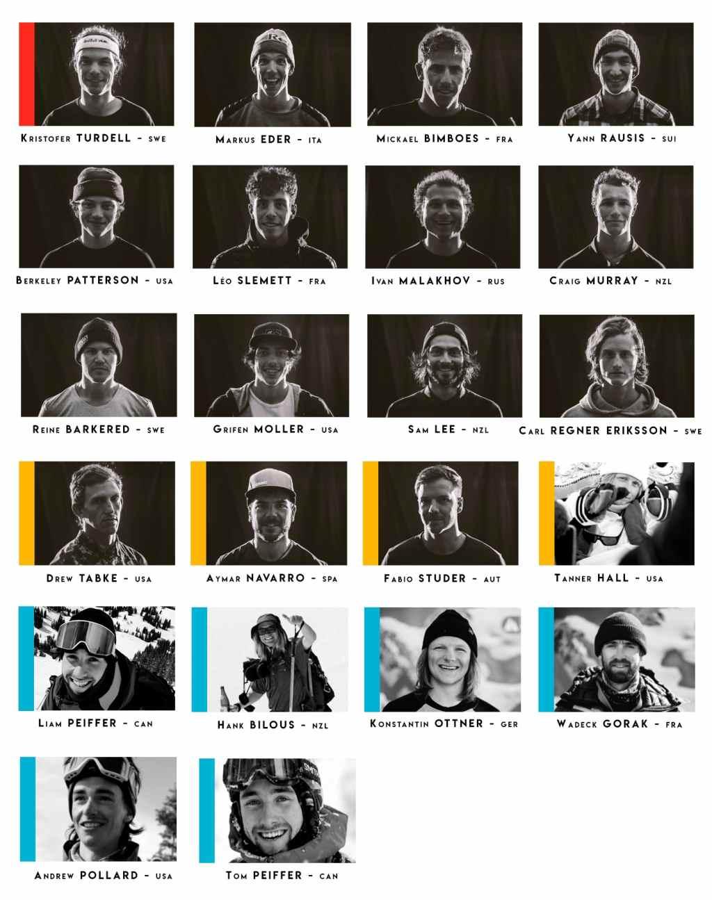 Alineación FWT 2019 esqui hombres