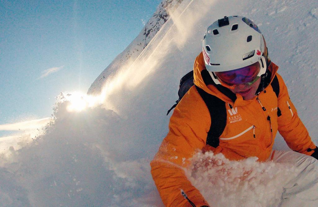 esquiar pegados a la cámara de acción