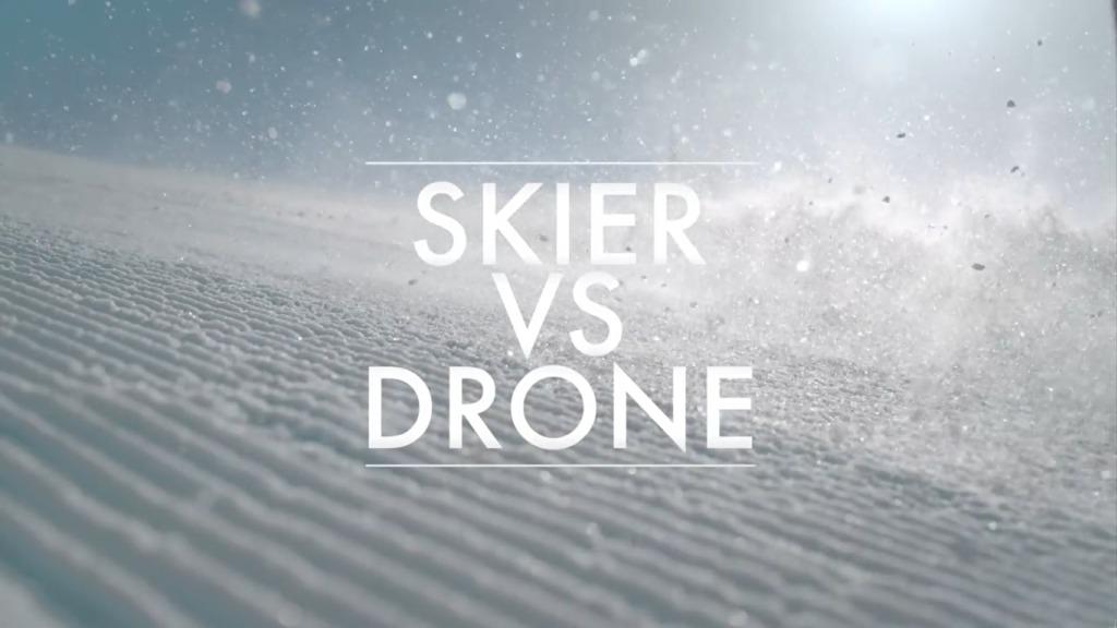 carrera entre un esquiador y un drone