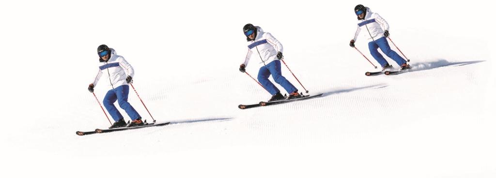 Técnica de esquí contrarrotación posición o movimiento