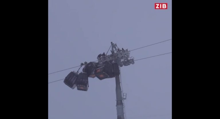 Sorprendente accidente en cadena en el telecabina de Hochzillertal