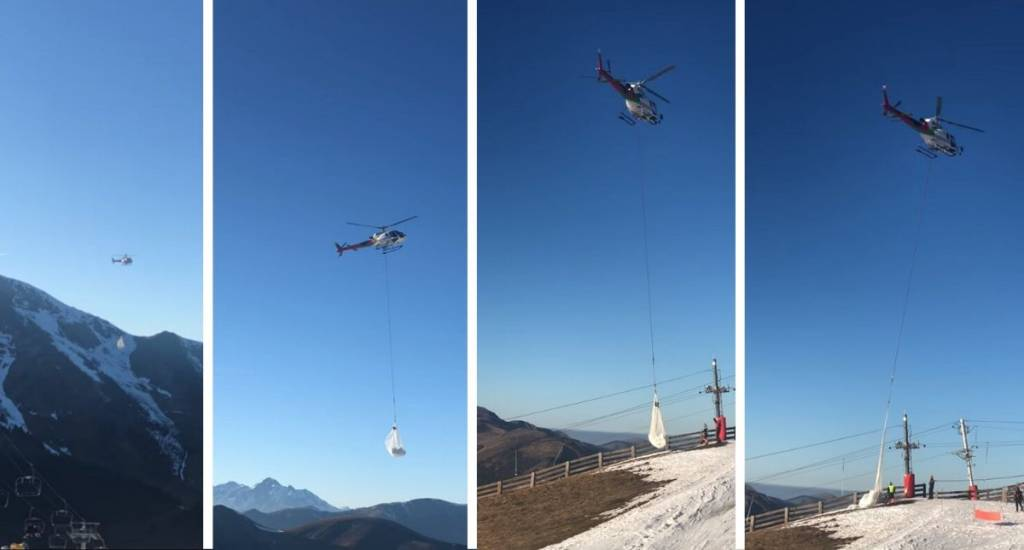 Luchon-Superbegnères transportar nieve helicóptero