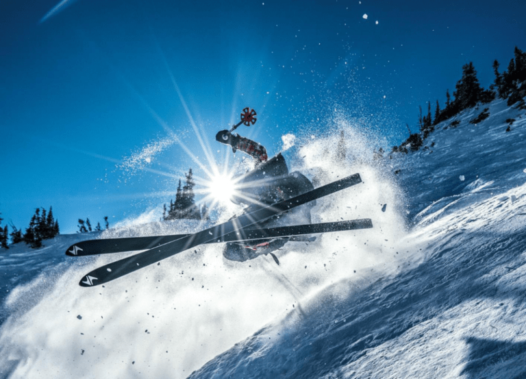 Esquiando hoy con unos esquís de hace 34 años.