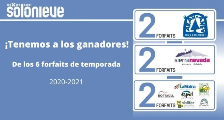 ¡Tenemos a los ganadores del sorteo de 6 forfaits de temporada 2020-2021!