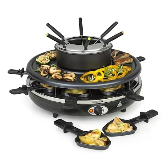 regalo esquiadores raclette fondue