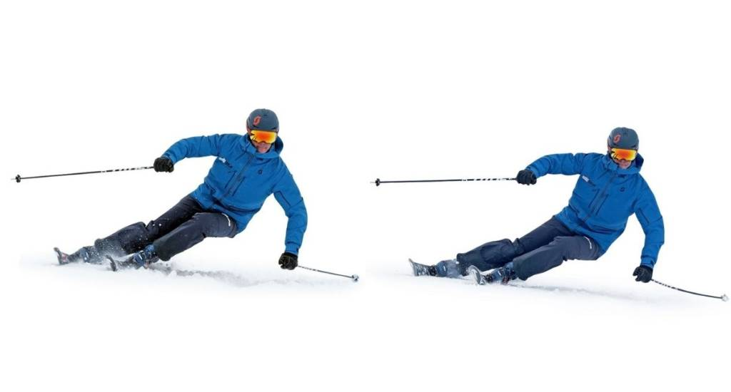 Técnica de esquí esquí estrecho y esquí ancho